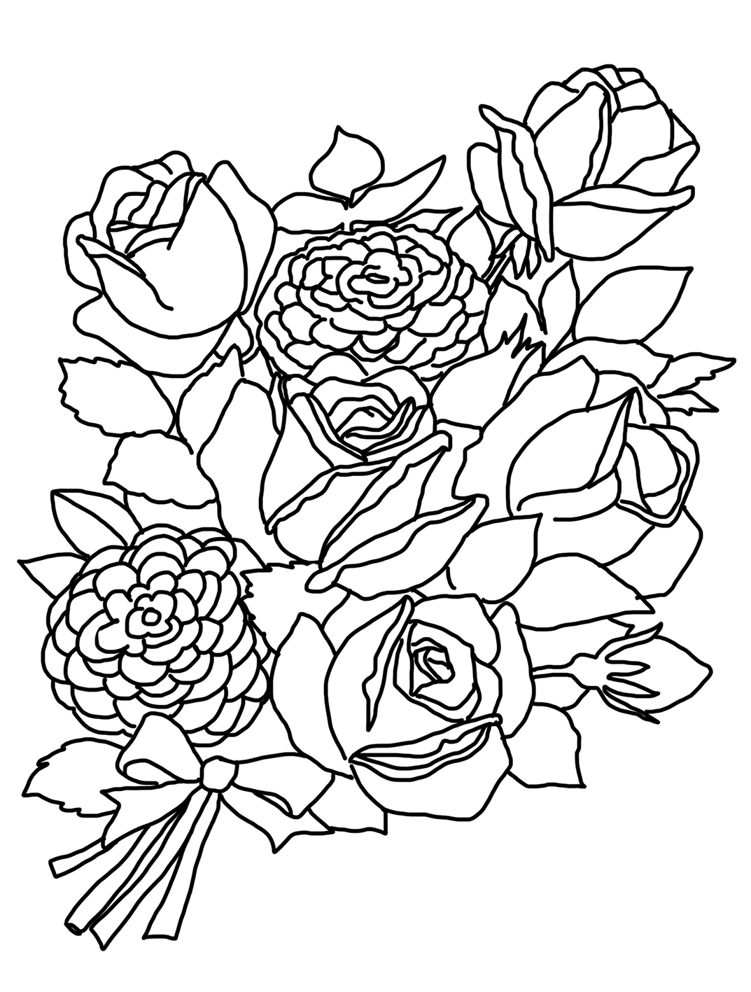 1073x1417 Flower Coloring Pages