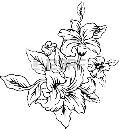 415x450 Line Drawings Of A Bouquet Of Beautiful Flowers. Royalty Free