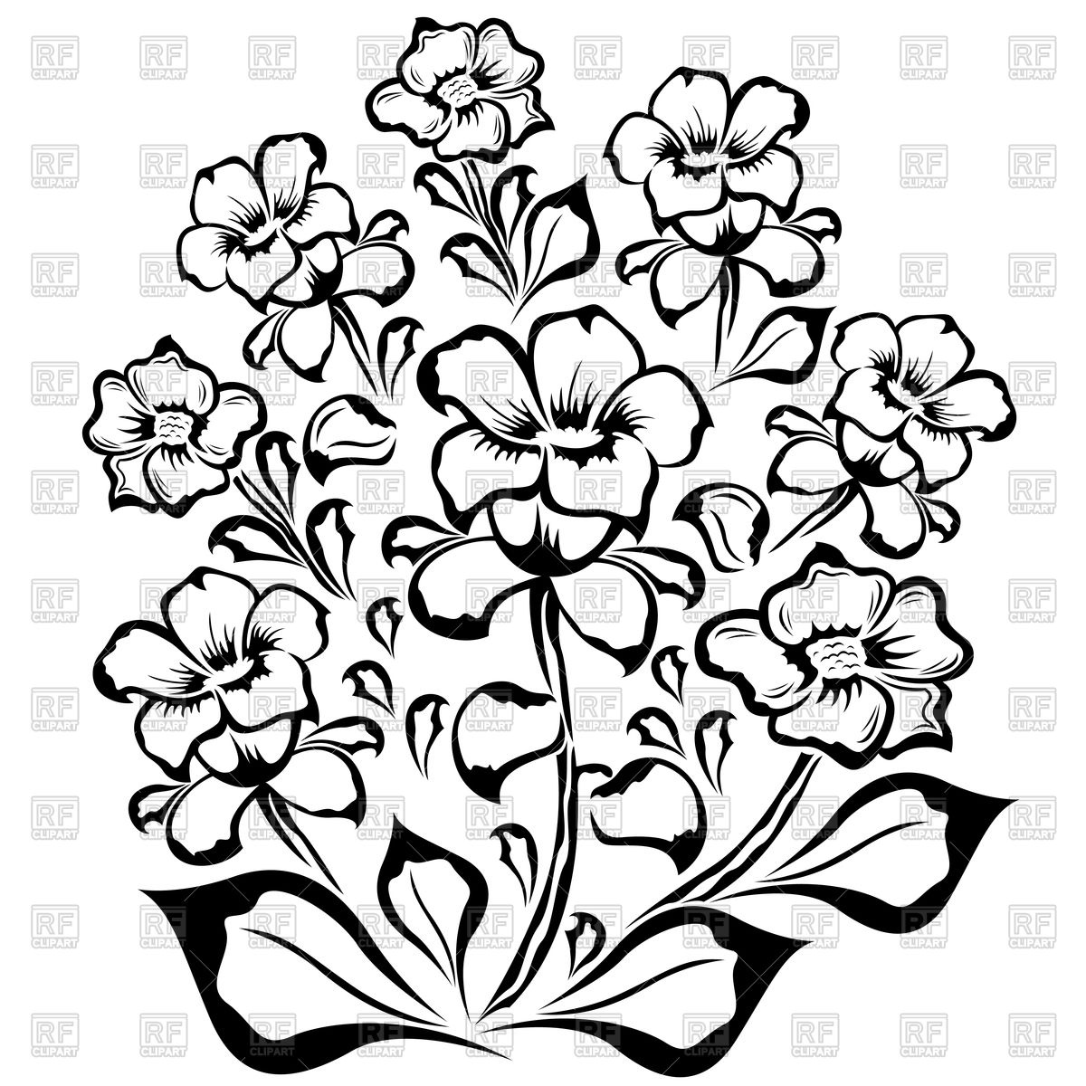 Bouquet of flowers line drawing at getdrawings free for 1200x1200 outline of flowers izmirmasajfo