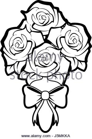 300x455 Sketch Silhouette Bouquet Roses Floral Icon Stock Vector Art