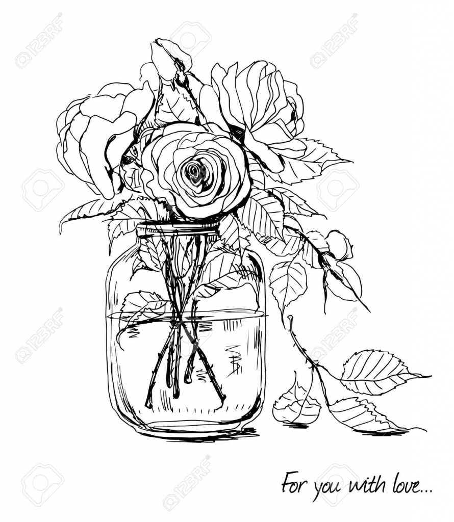 890x1024 Bouquet Of Flowers Drawing Bouquet Idea Part 120
