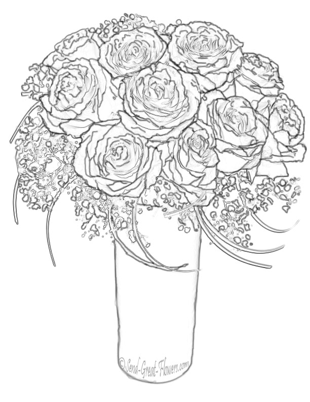 Bouquet Of Roses Drawing at GetDrawings.com | Free for personal use ...