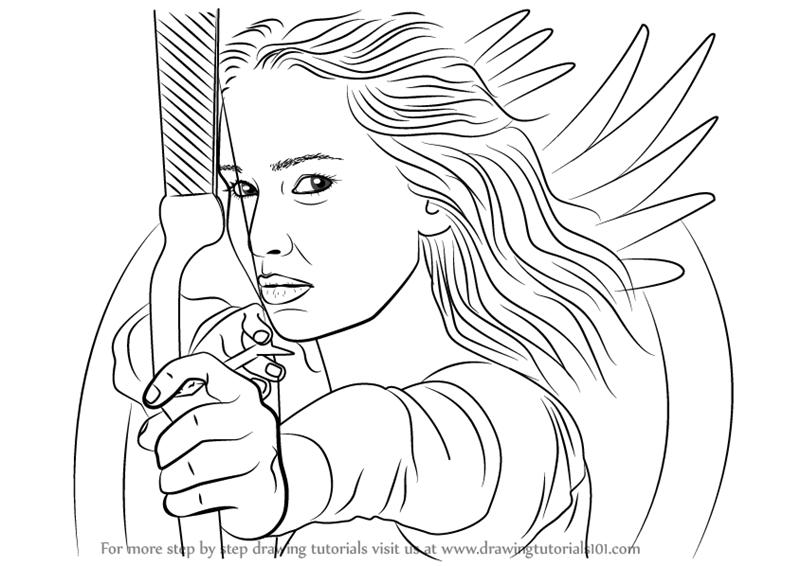 800x566 Learn How To Draw Katniss Everdeen With Bow And Arrow (Characters