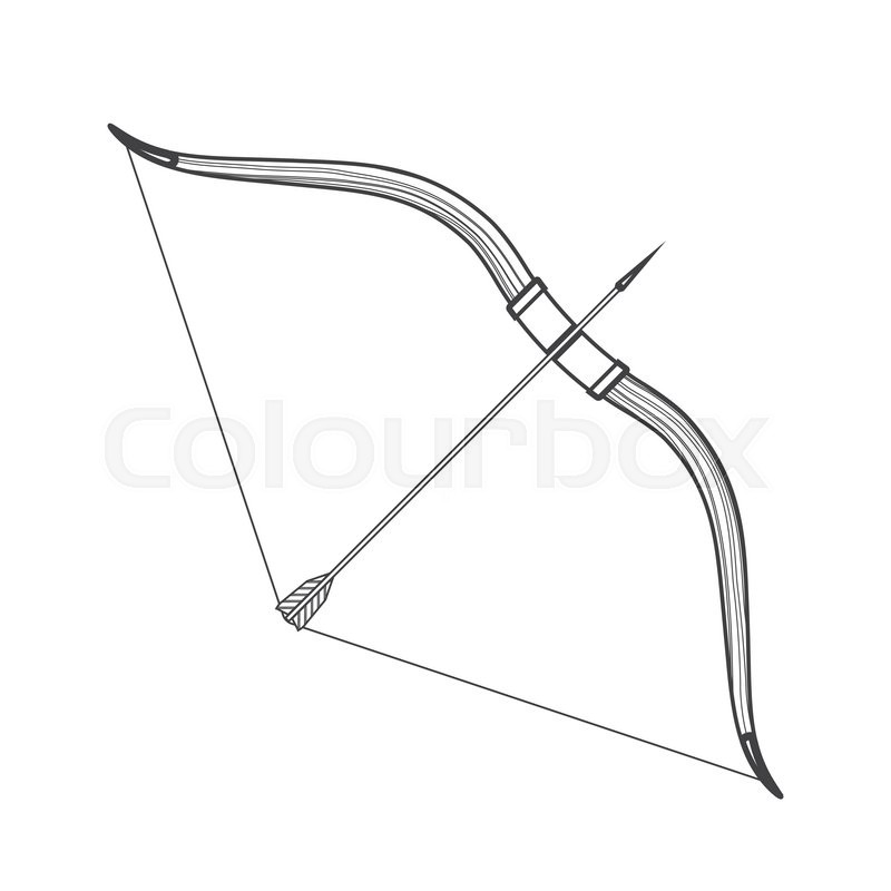 800x800 Vector Monochrome Contour Medieval Wooden Bow With Arrow Isolated