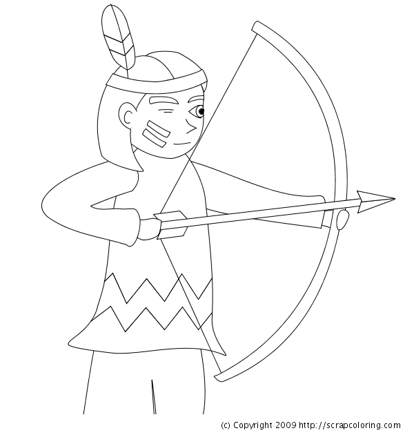 600x630 Indian With Bow And Arrows Coloring Page