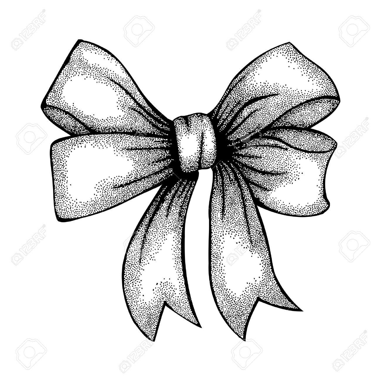1300x1300 Beautiful Ribbon Tied In A Bow Freehand Drawing In Graphic Style