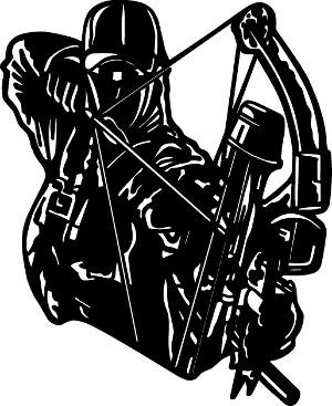 300x367 Bowhunting Drawings Bow Hunter At Full Draw Hunting Decal