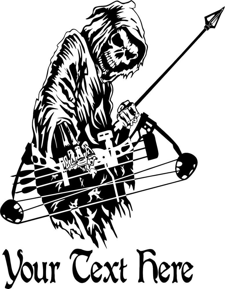 777x1000 Custom Grim Reaper Bow Archery Hunting Deer Car Truck Window Vinyl