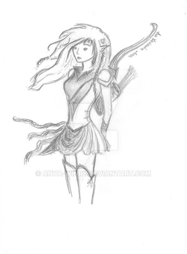 600x817 Drawn Elf Bow And Arrow