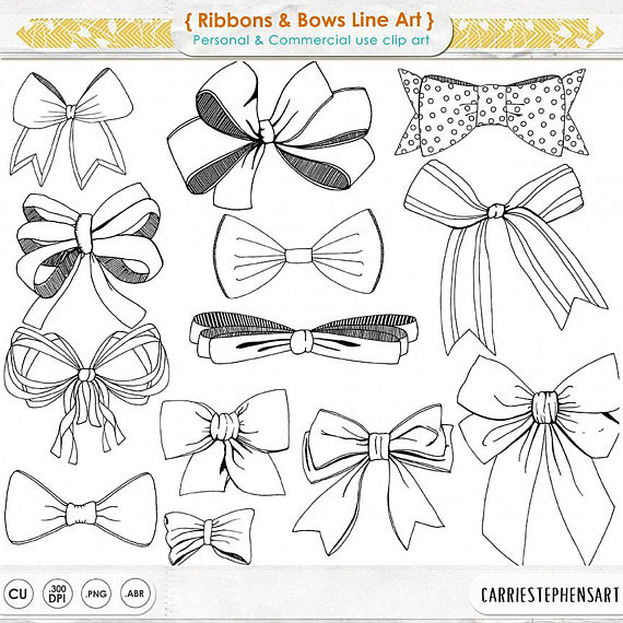 570x570 Ribbons Amp Bows Line Art Tied Bow Clipart Hand Drawn Digital