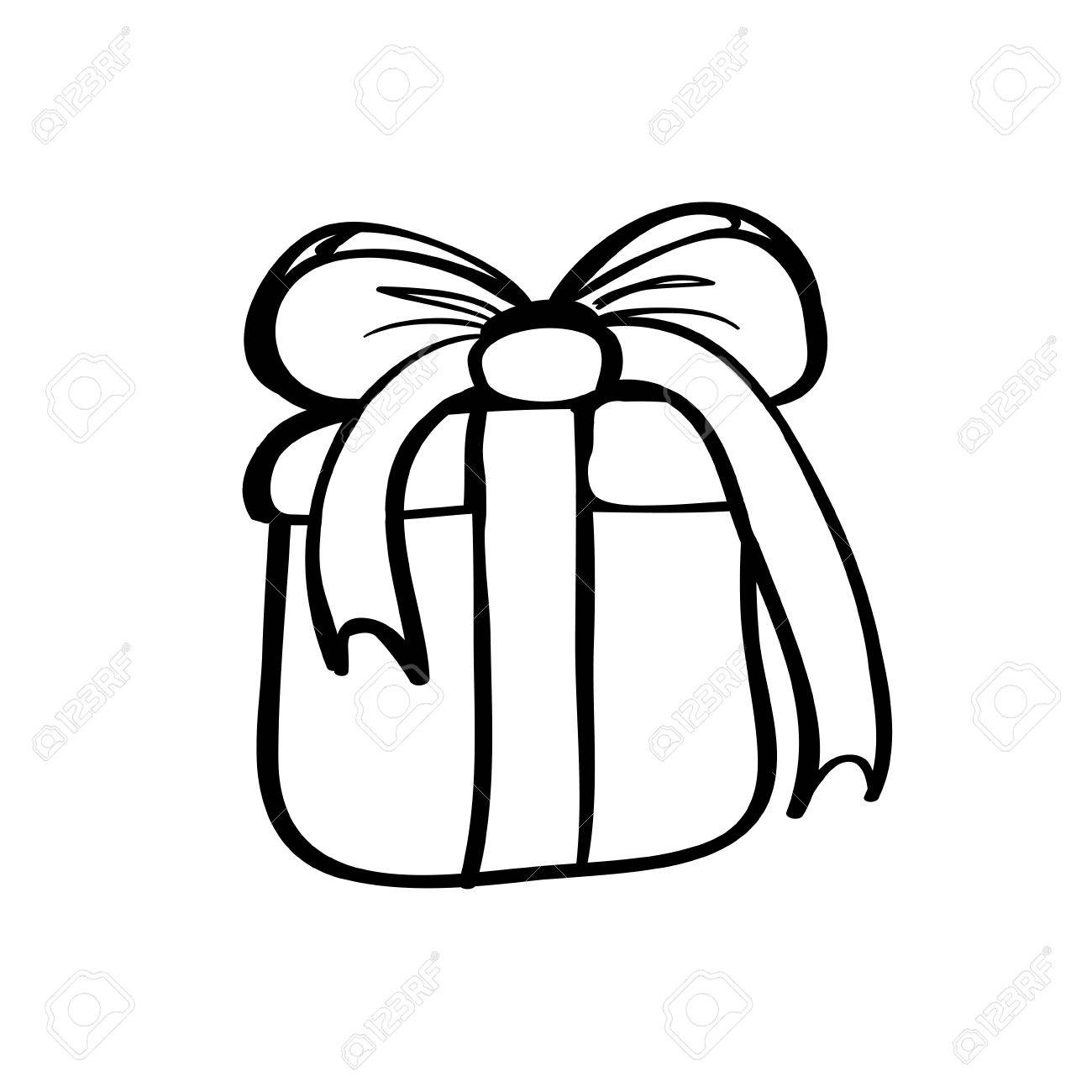 1300x1300 Vector Hand Drawn Gift Box With Bow. Black Sketch On White