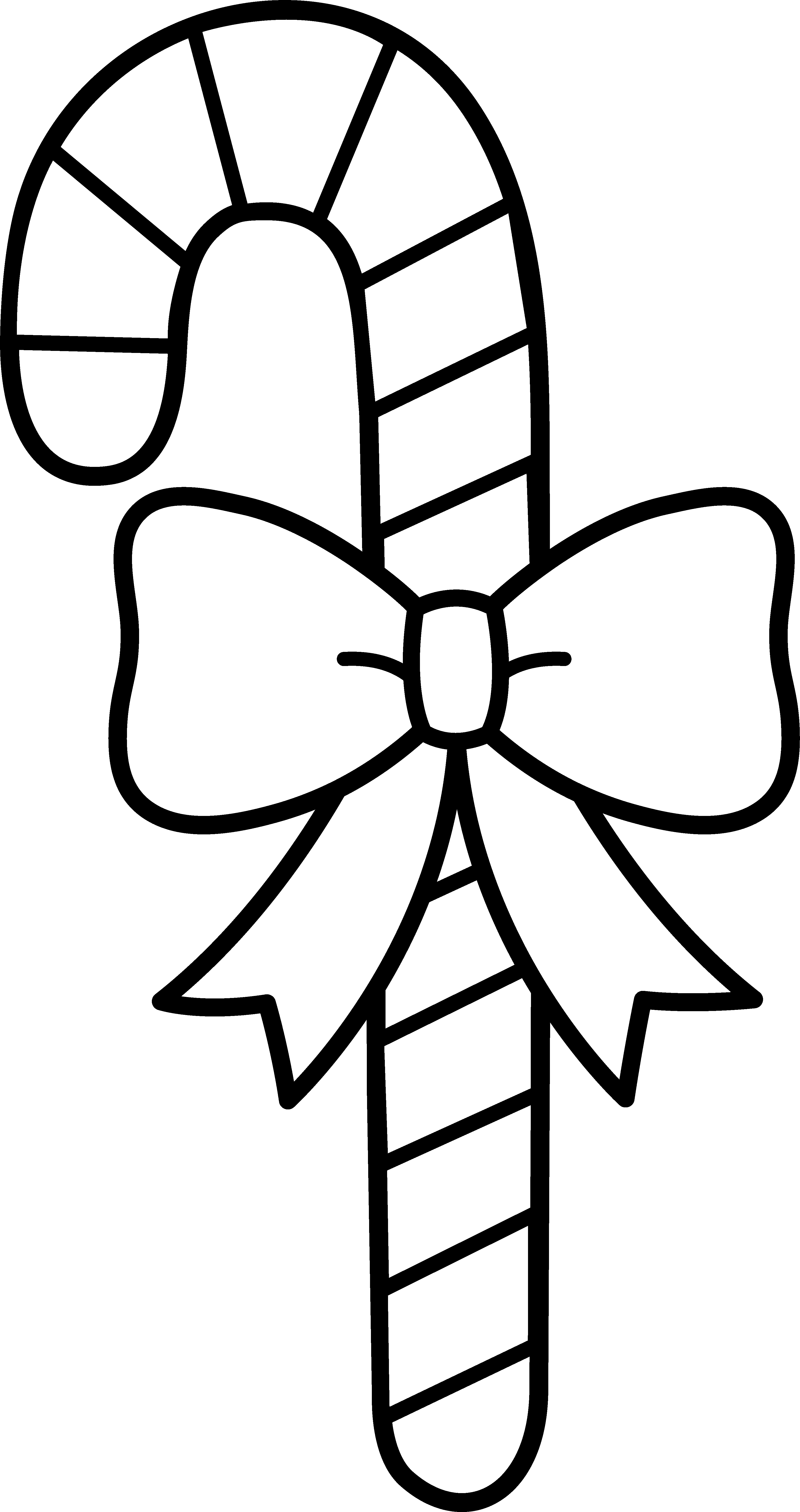 3509x6636 Candy Cane With Bow Line Art