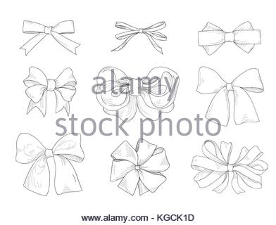 392x320 Bow Drawn. Fashion Accessory Sign. Gentle Bow Ribbon Isolated