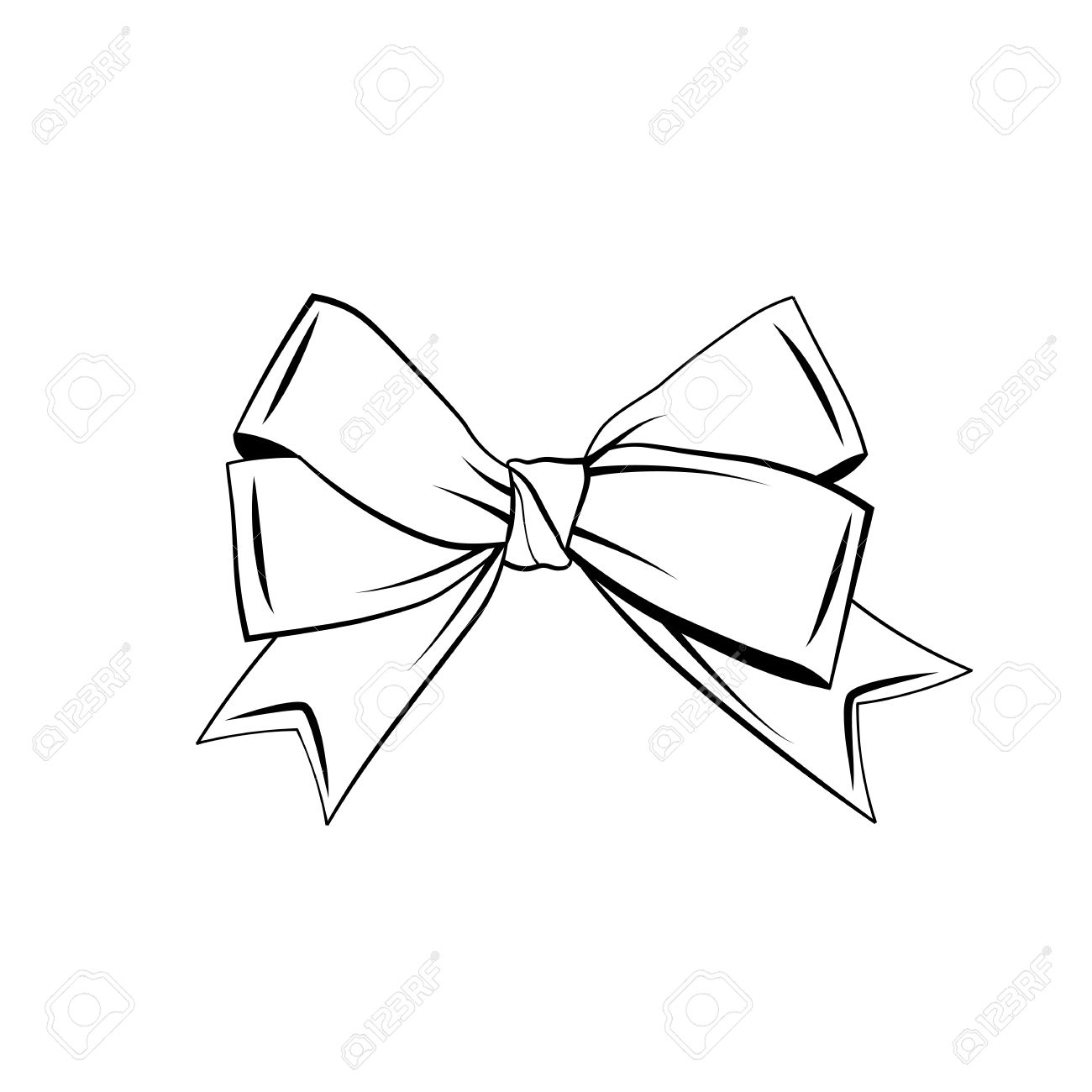 1300x1300 Drawing Of A Ribbon Bow A Black And White Drawing Of A Ribbon