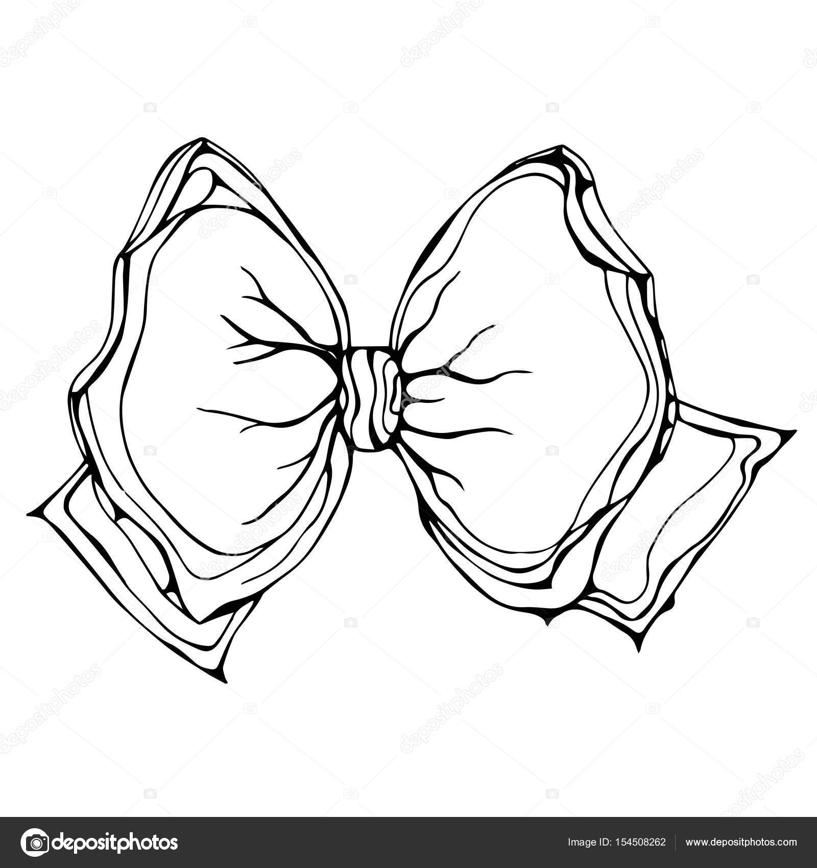 1600x1700 Gift Bow Ribbon. Ink Vector Illustration Isolated On A White