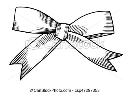 450x322 A Bow Ribbon Gift In A Vintage Woodcut Engraved Etching Clipart