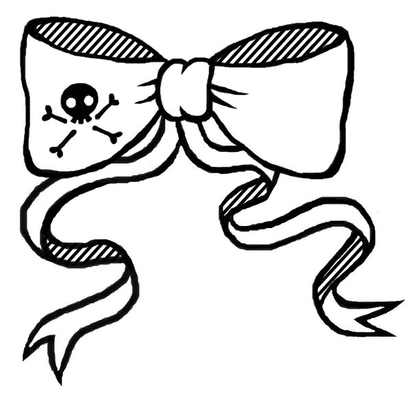 600x578 Black Outline Ribbon Bow Tattoo Stencil By Merel