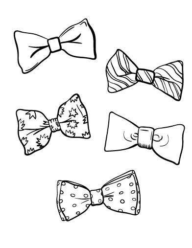 392x507 Printable Bow Tie Coloring Page. Free Pdf Download