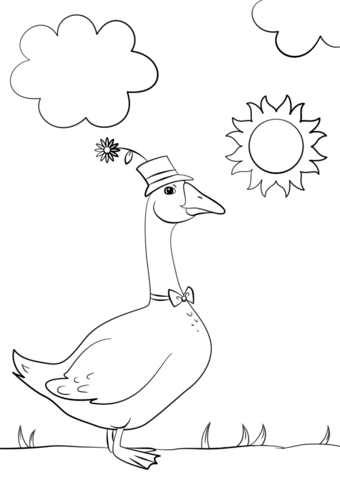 340x480 Cartoon Goose Wearing Hat And Bow Tie Coloring Page Free