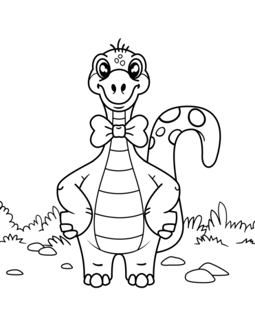 371x480 Dinosaur Wearing Bow Tie Coloring Page Free Printable Coloring Pages