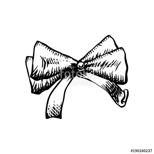500x500 Sketch Bow With Ribbon Isolated. Hand Drawn Vintage Decorative