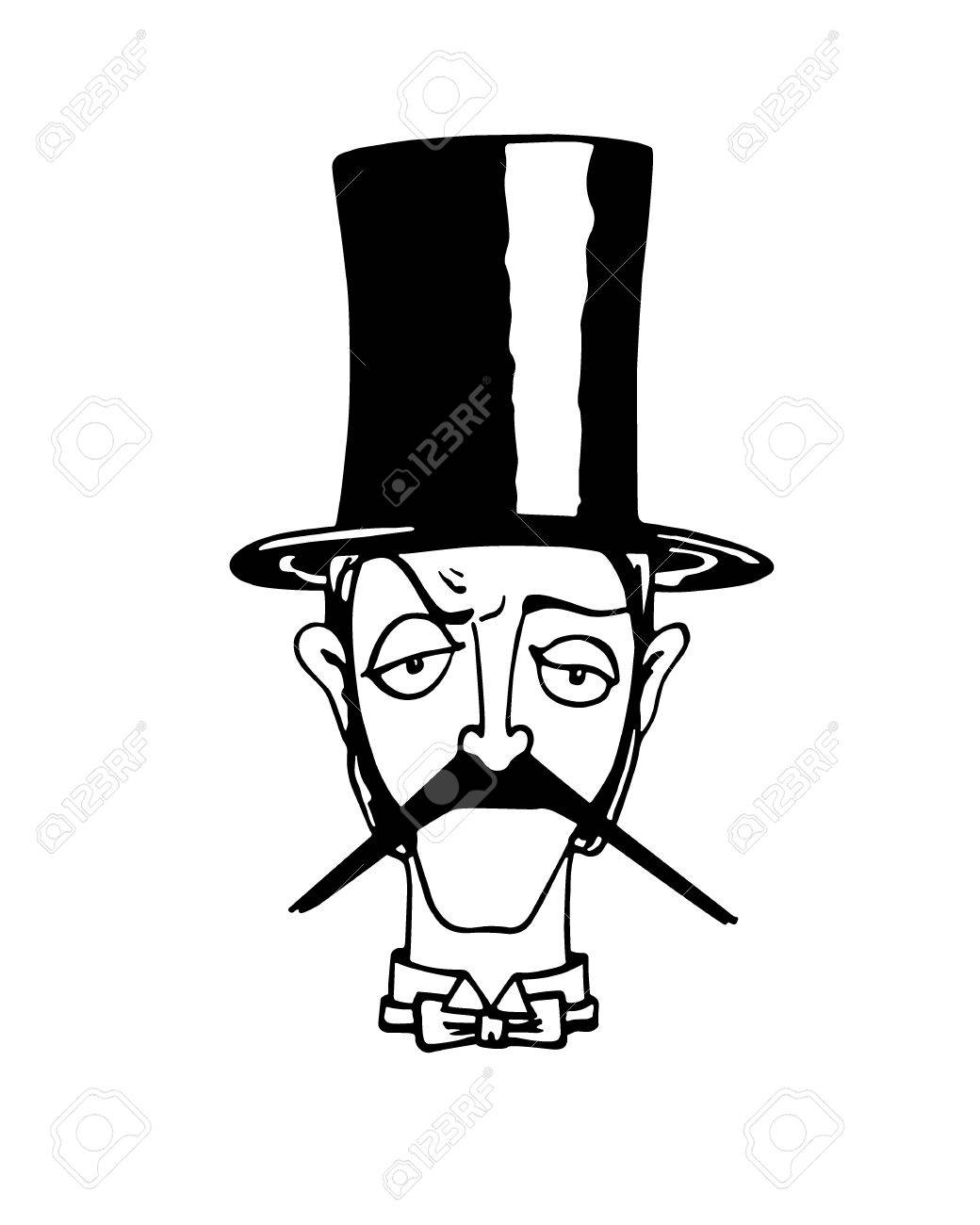 1040x1300 Vector Illustration Of Retro Male Character. A Head Of Elegant
