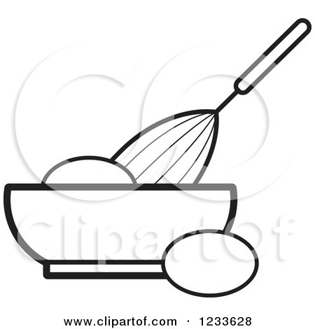 450x470 Clipart Of A Black And White Whisk Egg And Bowl
