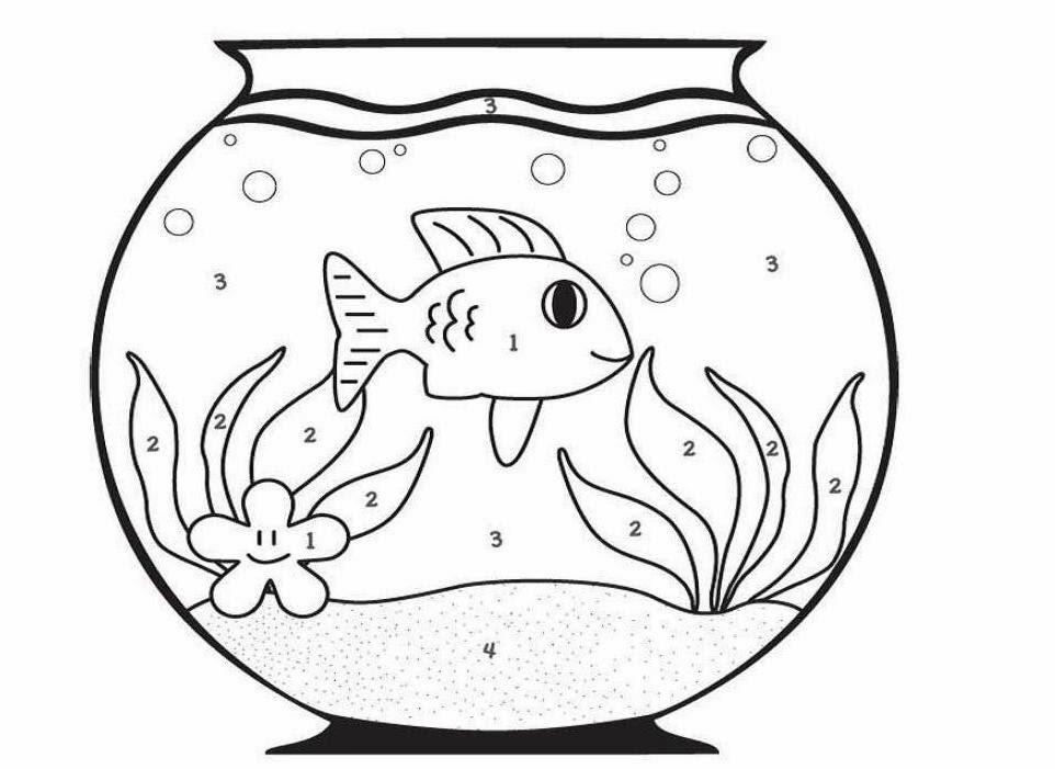 962x701 Colour Drawing Free Wallpaper Fish Bowl Coloring Drawing Free