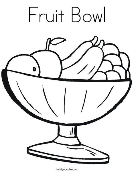 468x605 Fruit Bowl Coloring Page