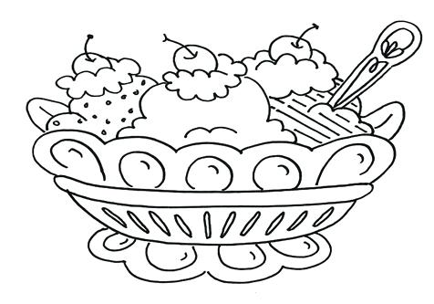 476x333 Ice Cream Dish Coloring Page Plus Drawing A Bowl From Above Of Ice