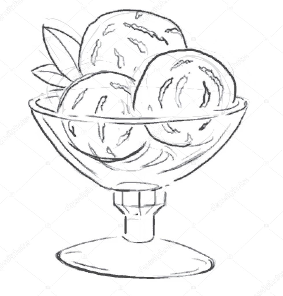 980x1024 Ice Cream With Mint Leaves In A Glass Bowl Isolated On White