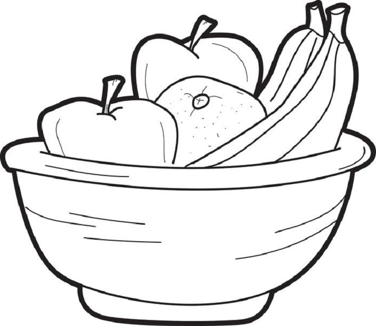 749x650 Coloring Page Of Fruit Bowl Food