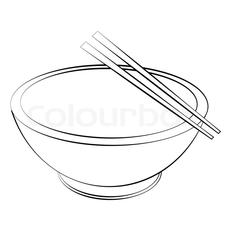 800x800 Black Outline Vector Bowl And Chopsticks On White Background