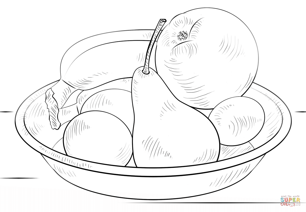 1186x824 Bowl Of Fruits Coloring Page Free Printable Coloring Pages