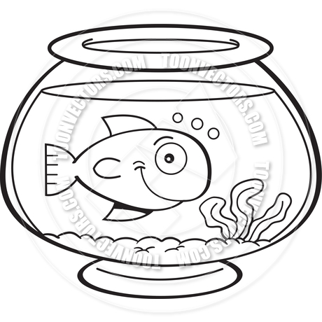 460x460 Cartoon Fish In A Fish Bowl (Black And White Line Art) By