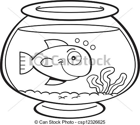 450x404 Cartoon Fish In A Fish Bowl. Black And White Illustration