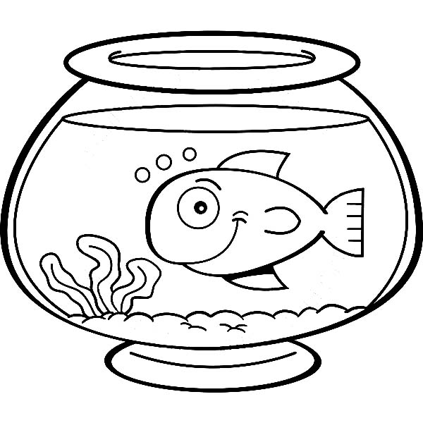 600x600 Smiling Fish In Bowl Coloring Page