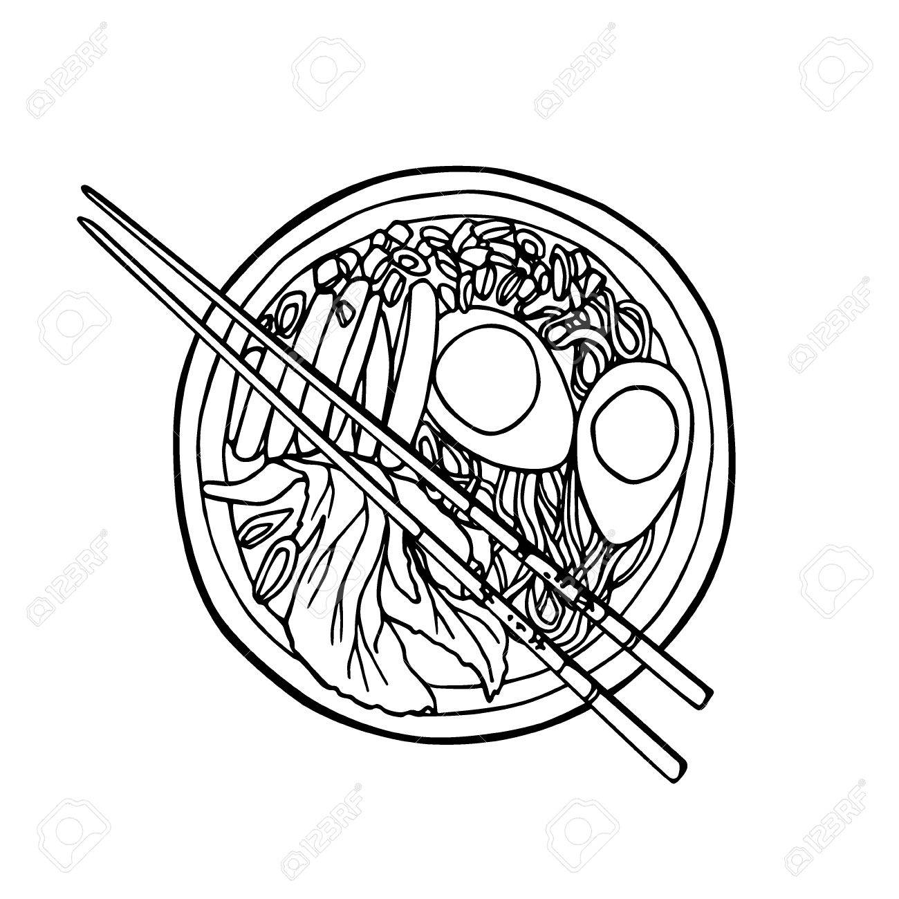 1300x1300 Vector Illustration Of Hand Drawn Asian Noodle Bowl And Chopsticks