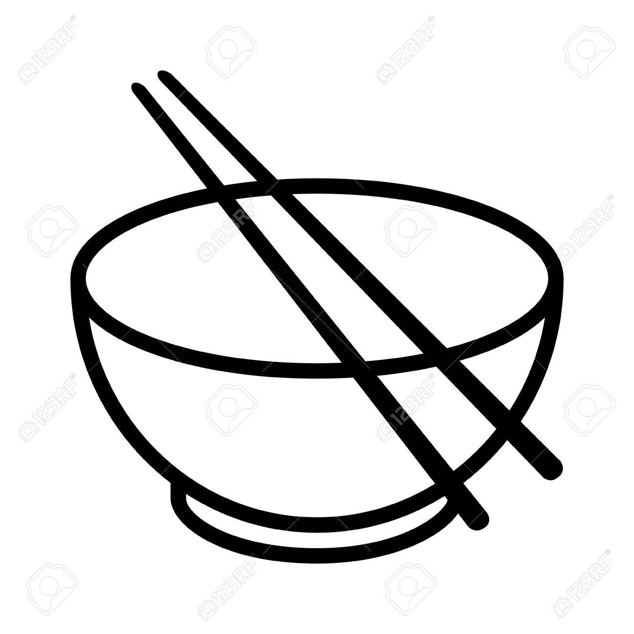 1300x1300 Bowl With Chopsticks Line Art Vector Icon For Food Apps