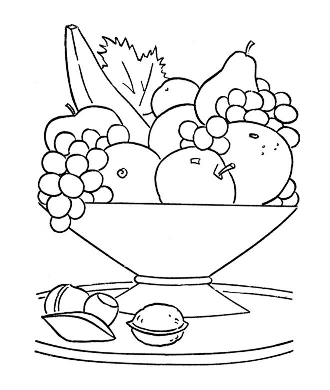 660x780 Fruit Bowl Coloring Sketch
