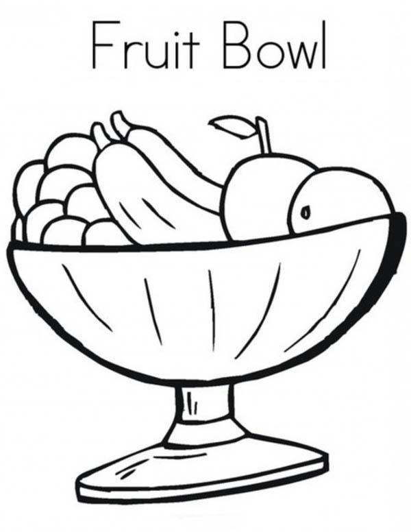 600x776 Fruit Bowl Coloring Page