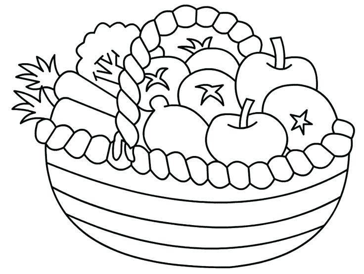 736x555 Fruits And Vegetables Coloring Pages Fruit Bowl Coloring Page