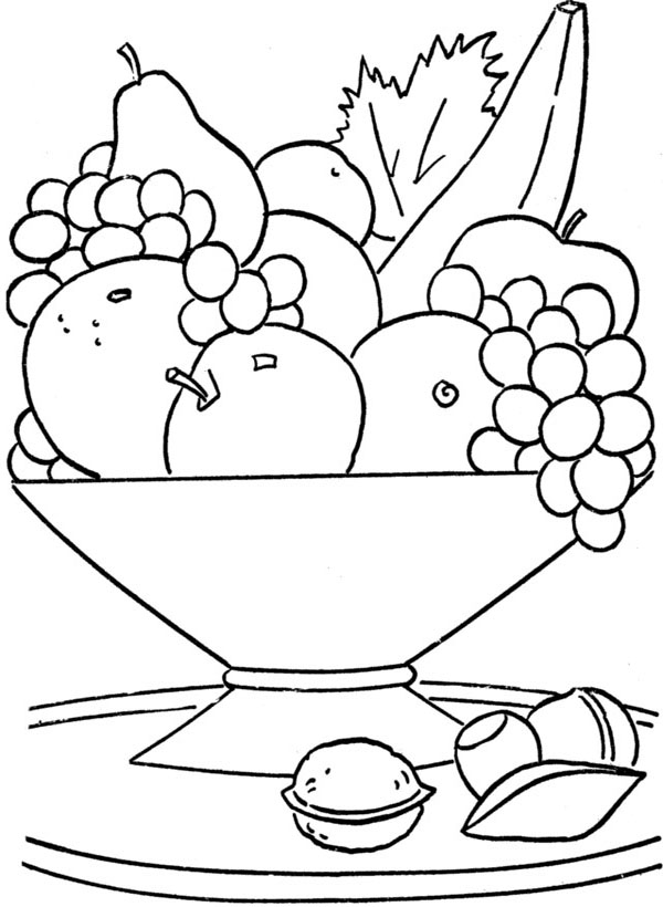 600x820 Printable Fruit Basket On The Table Coloring Pages Kids Coloring