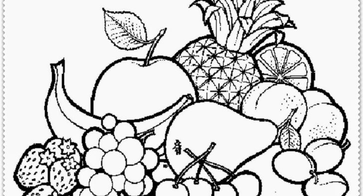 728x393 A Basket Of Fruits Drawing Coloring Bowl Of Fruits Coloring Page