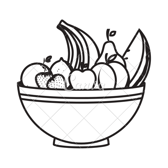 550x550 Bowl With Healthy Fruits Icon