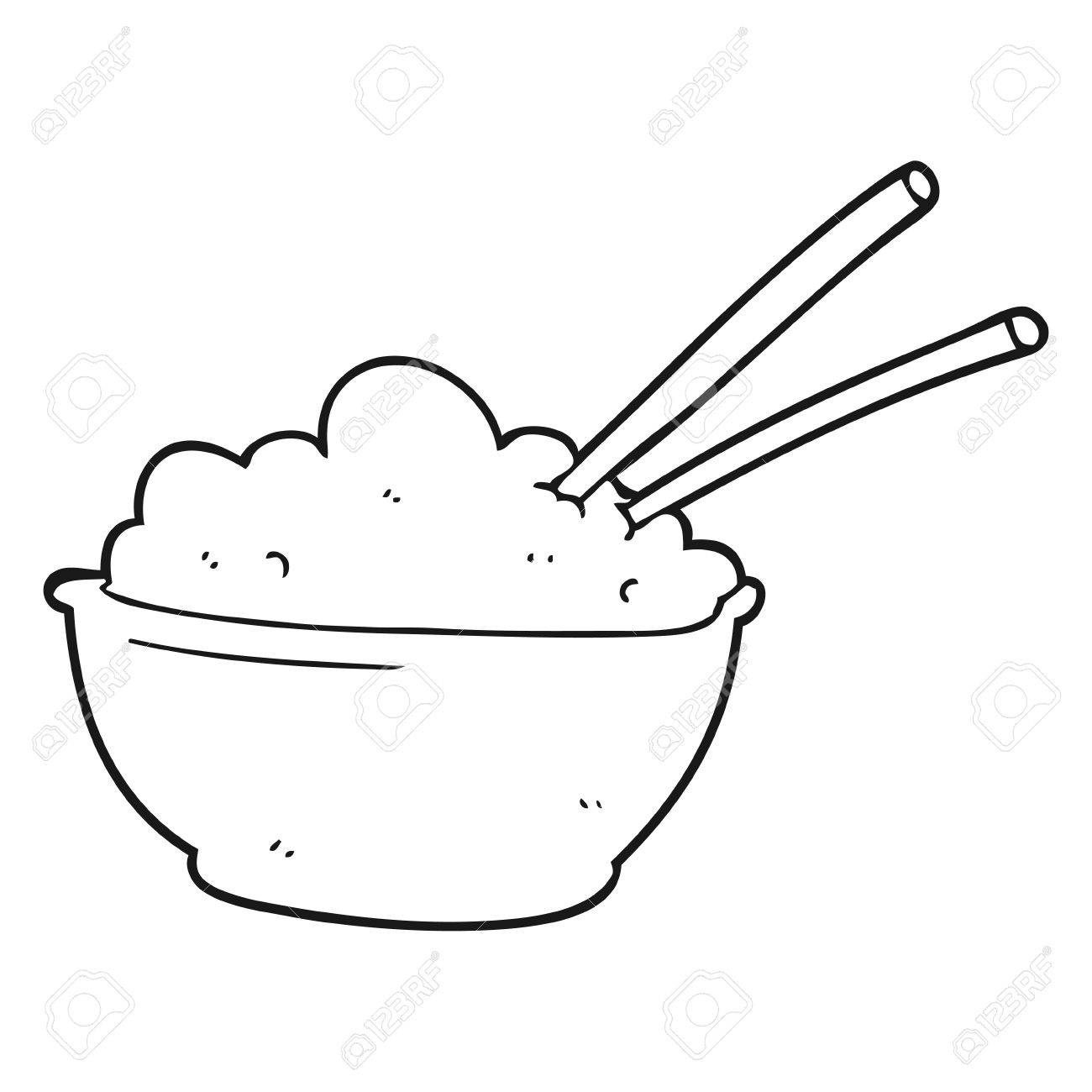 1300x1300 Freehand Drawn Black And White Cartoon Bowl Of Rice Royalty Free
