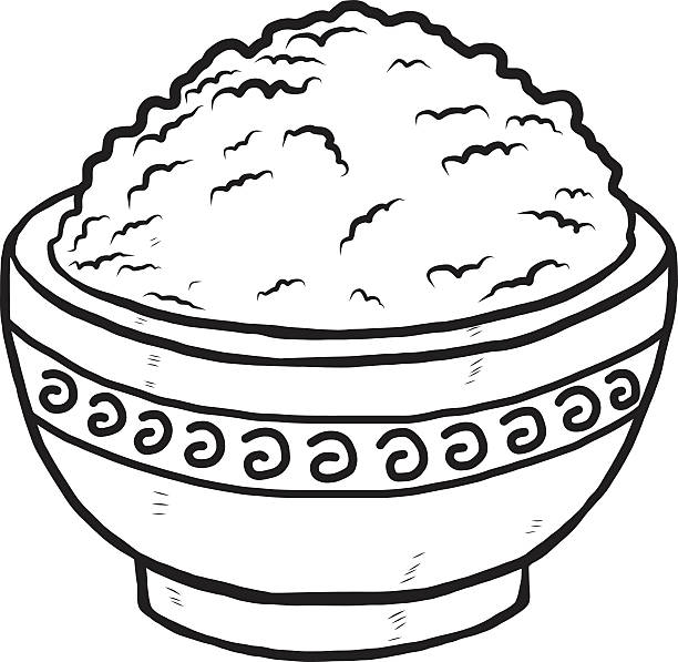 612x597 Rice Clipart Black And White