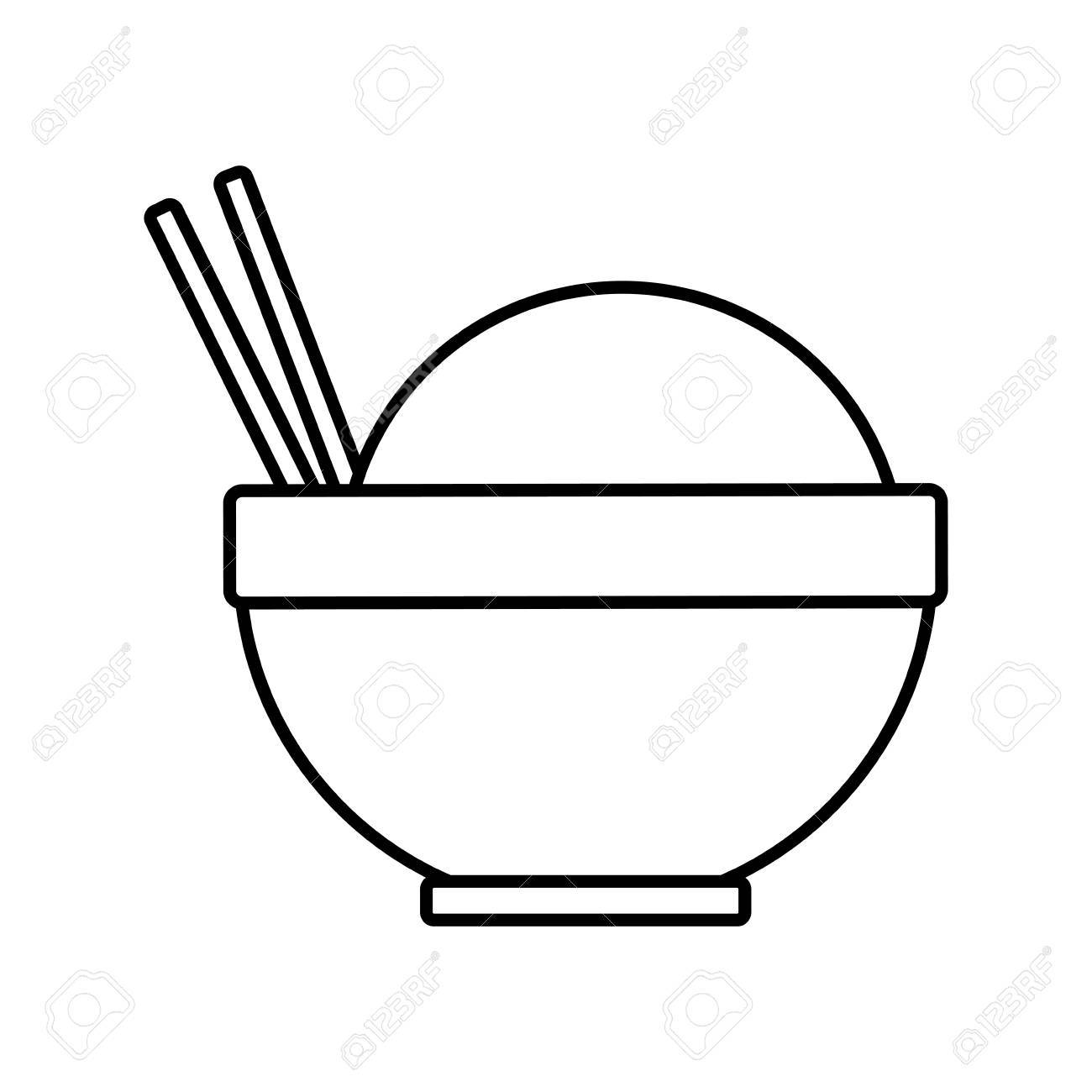 1300x1300 Traditional Bowl Of Rice With Chopsticks Vector Illustration