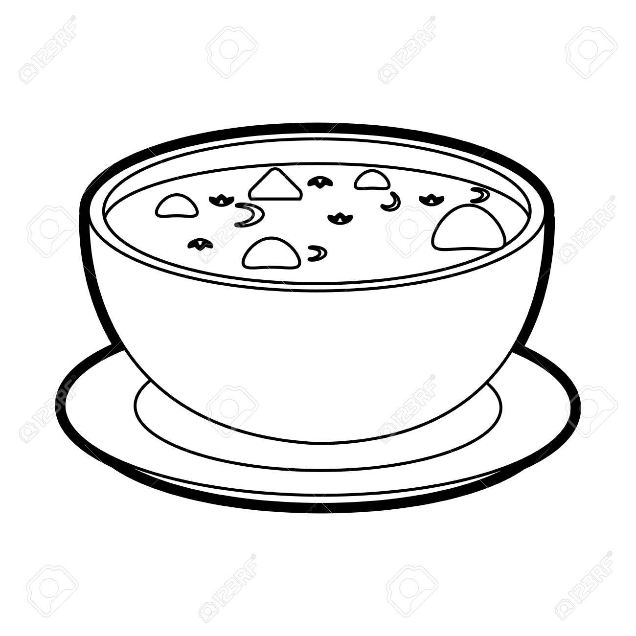 1300x1300 Hot Soup Bowl Icon Vector Illustration Graphic Design Royalty Free
