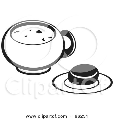 450x470 Royalty Free (Rf) Clipart Illustration Of A Black And White Bowl